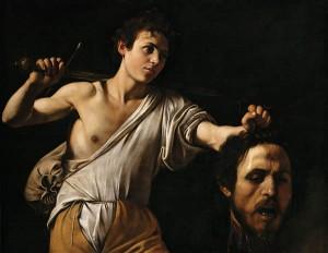 David contra Goliath.  Obra de Caravaggio. Imagen:  Galería Borguese, Roma.
