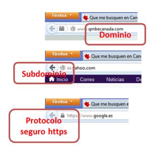 Dominio, subdominio y protocolo en el navegador. Imagen: qmbecanada.com